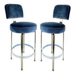 Mid-Century Modern Bar Swivel Stools W/ Pollack Nyc Velvet Upholstery-A Pair For Sale