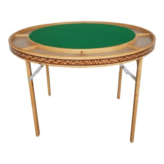 Mid 20th Century Inlaid Handmade Round Folding Poker Game Table For Sale