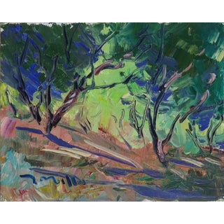 """""""Shady Trees"""" Contemporary Nature Landscape Oil Painting by Jose Trujillo For Sale"""