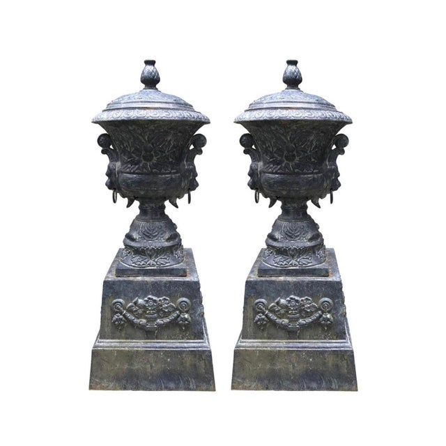 Monumental Antique Covered Cast Iron Urns on Plinths and Lion Head Handles, Pair For Sale - Image 11 of 11