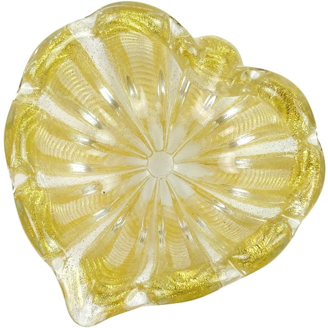 Gold Barovier Toso Murano Vintage Gold Flecks Italian Art Glass Mid Century Heart Shaped Bowl Dish For Sale - Image 8 of 8