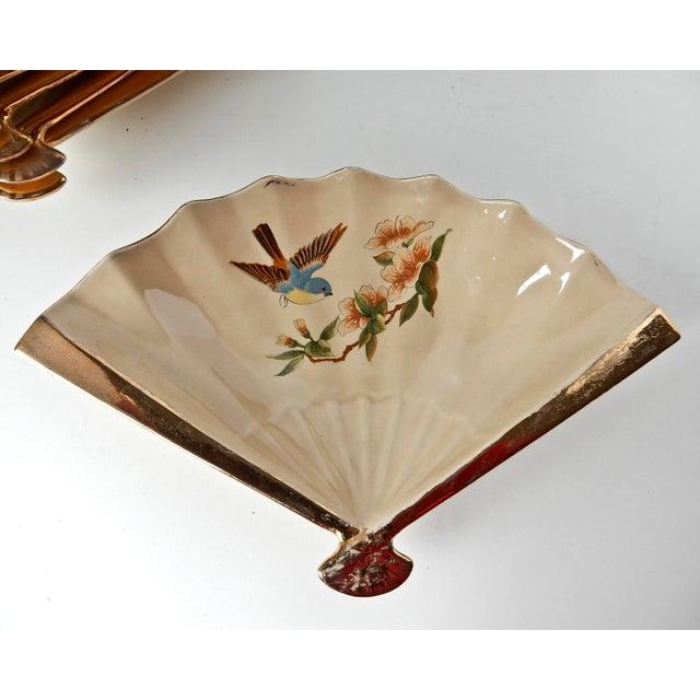 Asian Vintage Fan Shaped Plates - Set of 8 For Sale - Image 3 of 9