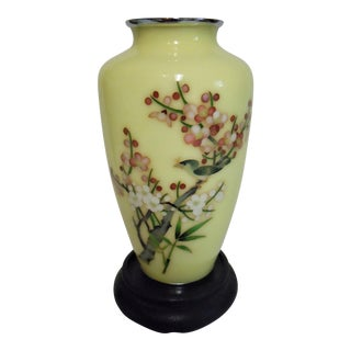 Japanese Yellow Cloisonné Vase With Display Stand For Sale