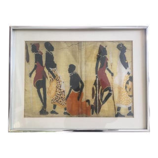 Vintage Framed African Hand Crafted Batik of Kenyan Villagers