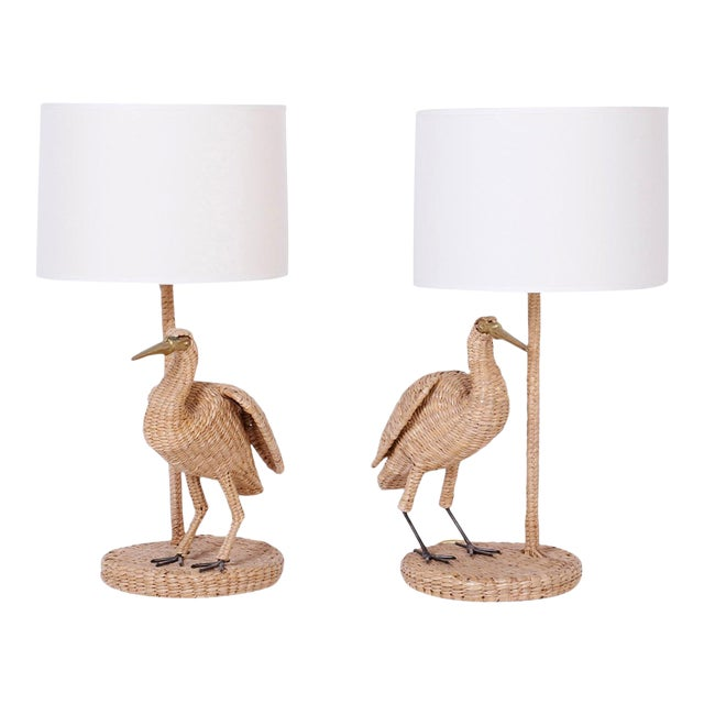 Mario Lopez Torres Wicker Egret Table Lamps - a Pair For Sale