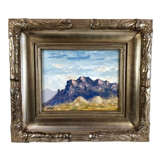Vintage Impressionist Oil on Board Painting of Purple Rocky Mountain For Sale