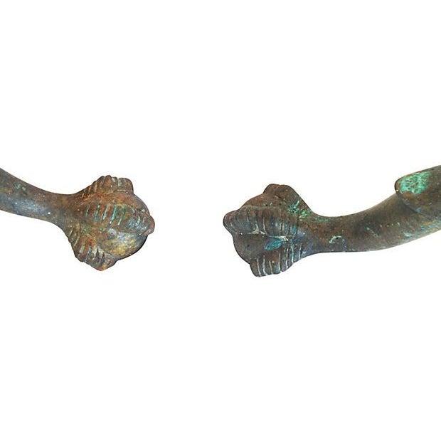 Bronze Column Andirons - a Pair - Image 5 of 5