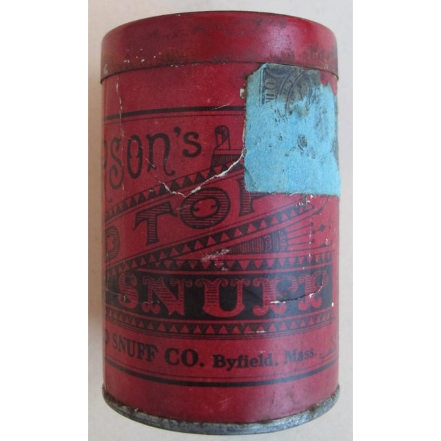 American Classical Vintage Red Top Snuff Tin With Tax Stamp For Sale - Image 3 of 6