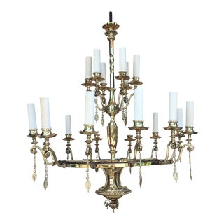 Monumental Early 20th Century Solid Brass Theatre 2-Tier 18-Arm Chandelier For Sale