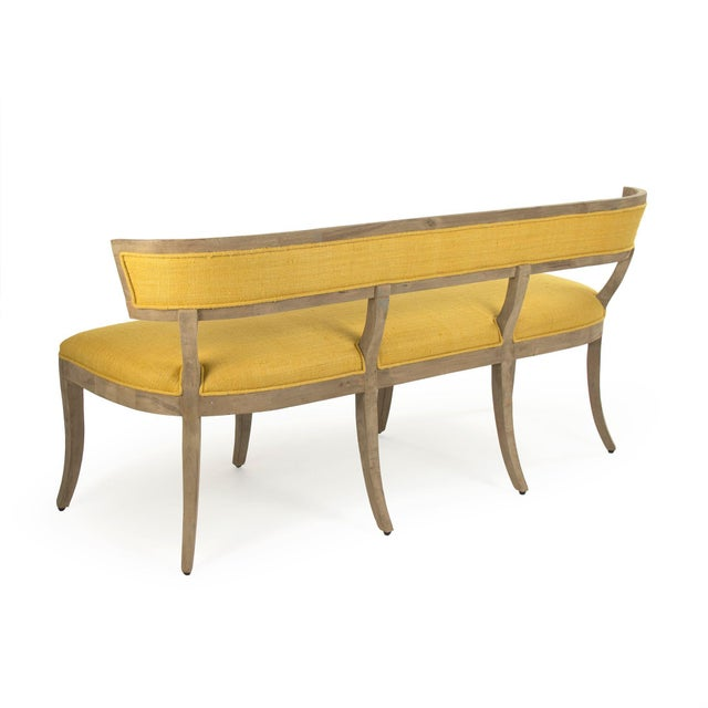 French Country Earls Bench in Yellow For Sale - Image 3 of 5