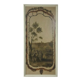 19th Century Country French Framed Painted Wall Panel For Sale