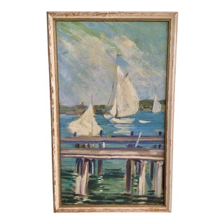 Vintage Nautical Sailboat Oil Painting