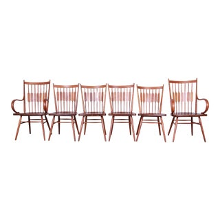 Kipp Stewart for Drexel Declaration Solid Walnut Dining Chairs - Set of 6 For Sale