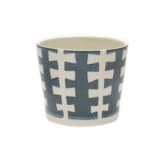 "Blue and White Porcelain ""Zipper"" Jardiniere/Planter For Sale"