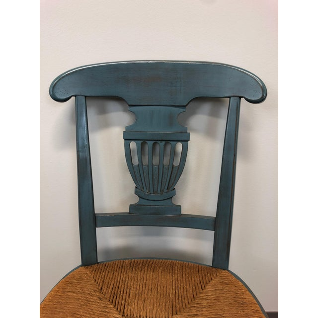 Wood Country Cottage Shabby Chic Painted Distressed Dining Chairs - Pair 2 For Sale - Image 7 of 11