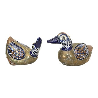 Vintage Tonala Brass & Ceramic Ducks - a Pair For Sale