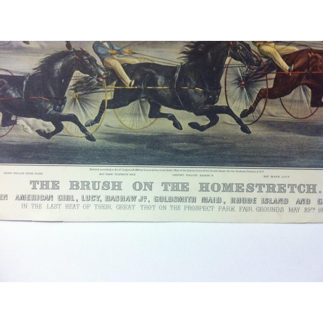 "American Currier & Ives Color Print, ""The Brush on the Homestretch"", 1955 For Sale - Image 3 of 4"