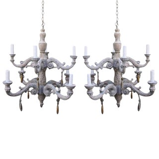 Pair of Eight-Light Two-Tier Wood Chandelier with Gilt Drops For Sale