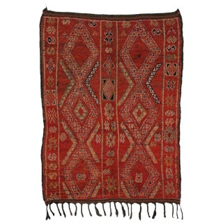 "20th Century Moroccan Red Berber Rug - 5'11"" X 7'7"" For Sale"