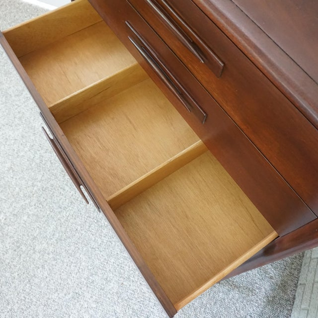 1960s Mid Century Modern Broyhill Emphasis Walnut High Chest of Drawers For Sale - Image 5 of 11