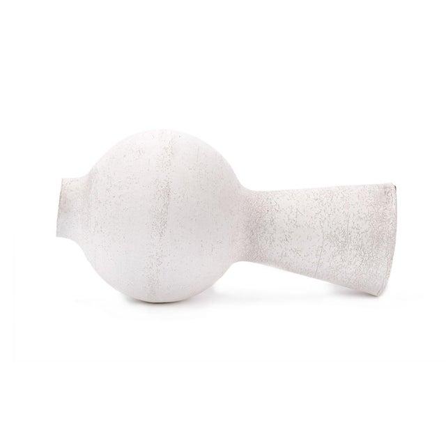 Contemporary Organic Modern White Crackled Finish Handbuilt Stoneware Orb Vase For Sale - Image 3 of 5