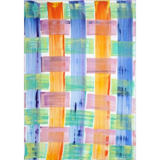 """2021 """"Brushstrokes Plaid Pattern"""" Abstract Painting on Paper For Sale"""