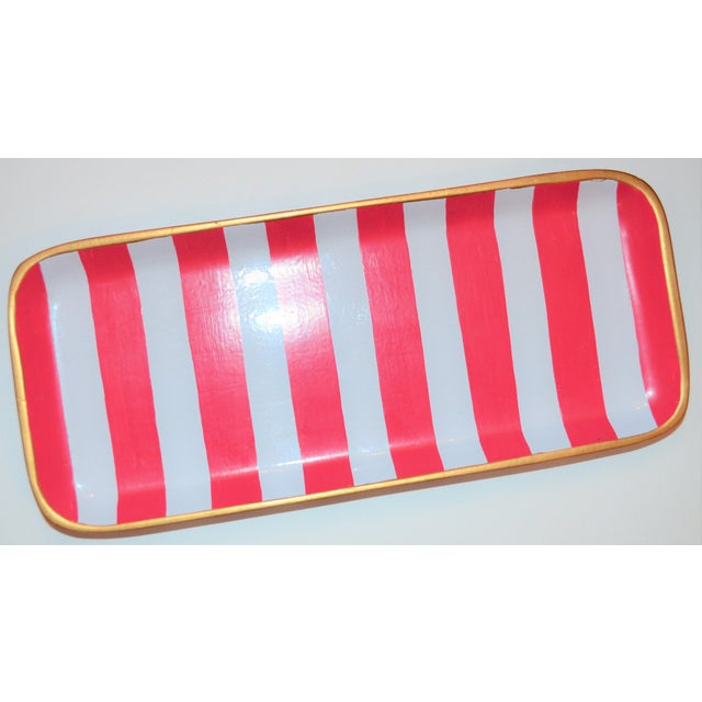 Ceramic Dana Gibson Melon and White Striped Trinket Tray For Sale - Image 7 of 13