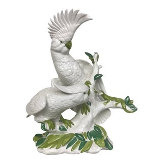 1970s Hollywood Regency Ronzan Ceramic Large Cockatoo Bird Sculpture For Sale