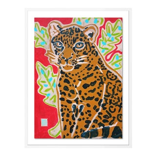 Red Jaguar by Jelly Chen in White Framed Paper, Large Art Print For Sale