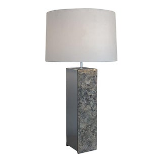 Vintage Mid Century Brutalist Raw Edge Marble and Chrome Table Lamp For Sale