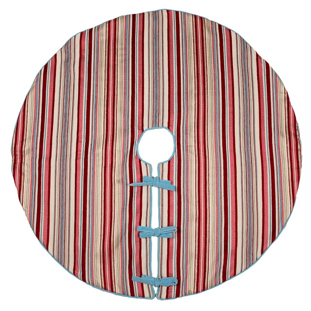 Contemporary Red, Pink and Blue Striped Tree Skirt For Sale - Image 10 of 10