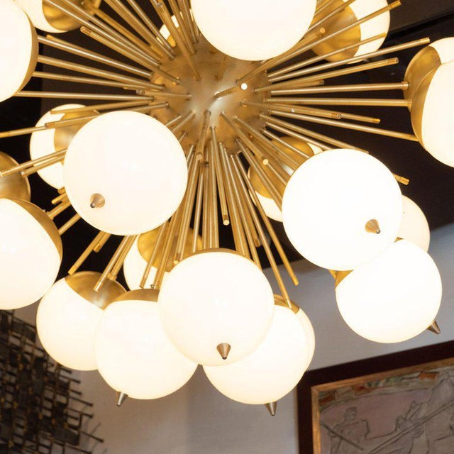 Early 21st Century Modernist Hand Blown Murano Frosted Glass and Brushed Brass Sputnik Chandelier For Sale - Image 5 of 9