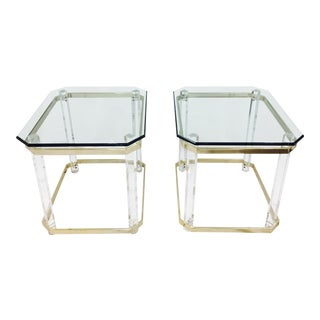 Vintage Lucite & Brass Tables - a Pair