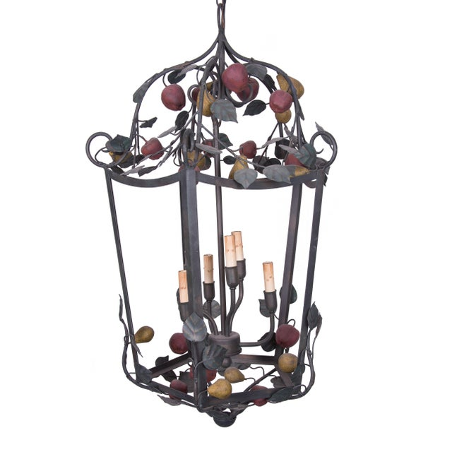 1980s Italian Polychrome Lantern Garnished with Fruits and Vines For Sale - Image 5 of 5