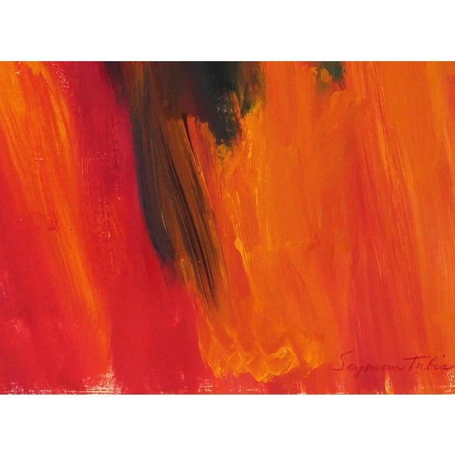 This late 20th Century oil on paper abstracted scene entitled Forest Fire is by Santa Fe artist Seymour Tubis (1919-1993)....