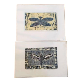 Foster Beigler Moth and Dobson Fly Woodcut Prints - A Pair For Sale
