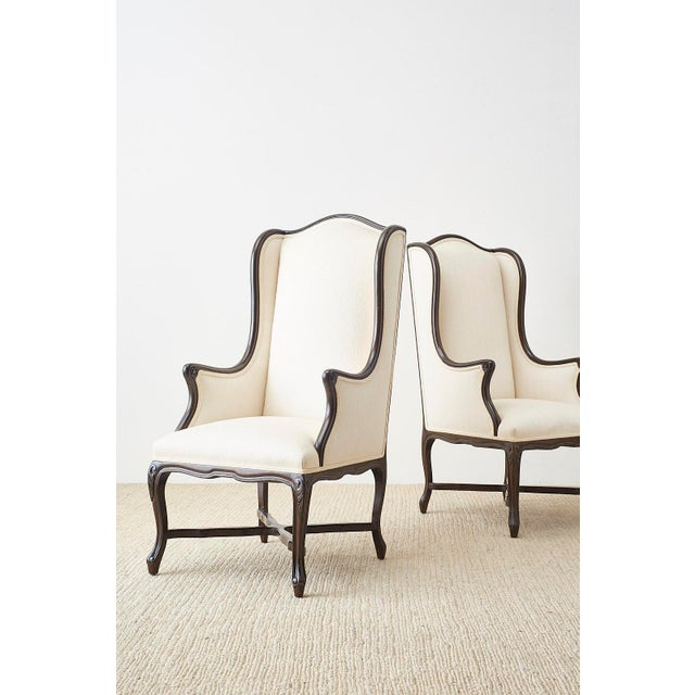 French Louis XV Style Carved Wing Chairs - a Pair For Sale - Image 4 of 13