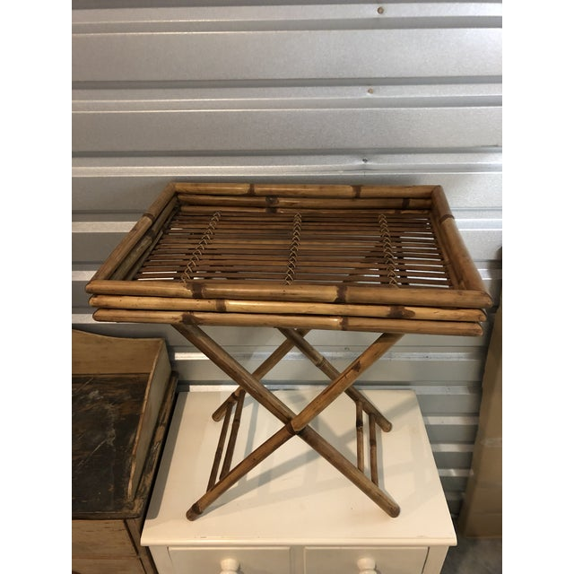 Mid 20th Century 20th Century Boho Chic Bamboo Butler's Tray Table For Sale - Image 5 of 5