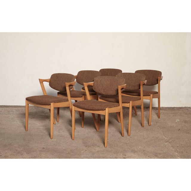 Brown Set of Six Model 42 Oak Dining Chairs by Kai Kristiansen, Denmark, 1960s For Sale - Image 8 of 9