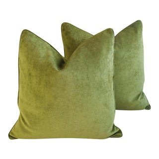 "Forest Green Velvet Feather/Down Pillows 24"" Square - Pair For Sale"