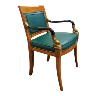 French Empire Dolphin Carved Leather Chair For Sale