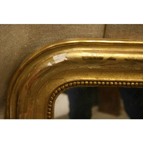 French Louis Philippe Gold Leaf Mirror With Vine Detail & Original Glass For Sale - Image 3 of 5