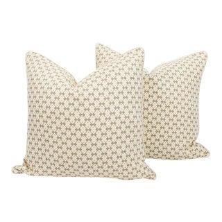 Schumacher Domino Linen Muse Pillows, a Pair For Sale