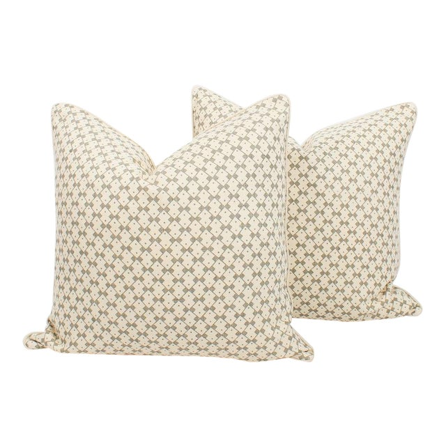 Schumacher Domino Linen Muse Pillows, a Pair For Sale