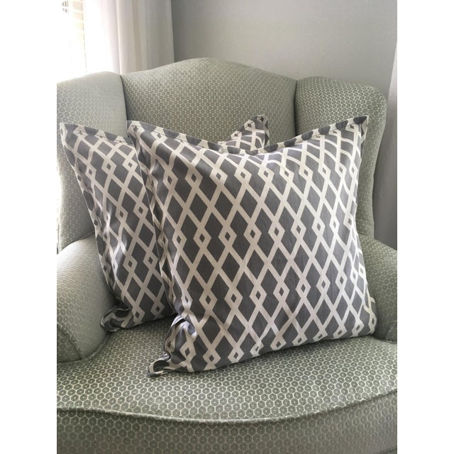 Fabric Gray Geometric Pillow Cases - A Pair For Sale - Image 7 of 8