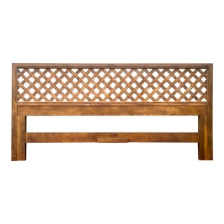 Mid Century Modern Latticed King Headboard by Artefacts for Henredon For Sale