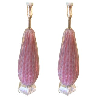 Murano Pink & White Glass Table Lamps - A Pair For Sale
