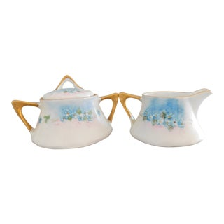 Z.S.&Co. Bavaria Hand-Painted Porcelain Antique Creamer and Sugar - a Pair For Sale