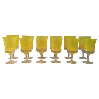 Vibrant Canary Yellow Murano Glasses - Set of 12 For Sale