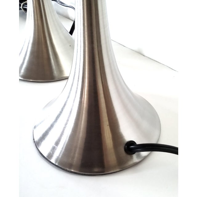 Satin Finish Stainless Steel Table Lamps - Pair - Image 8 of 8